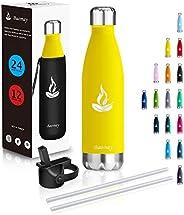 Baomay Bottiglia Termica Acqua Acciaio Inox, Senza BPA, Borraccia Sportiva Isolamento Sottovuoto a Doppia Pare