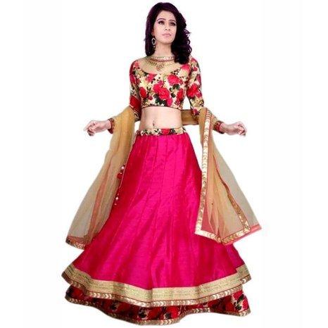 Sky Global Pink Raw Silk Designer Semi-stitched Lehenga Choli (Lehnga_124_Free Size_Pink )