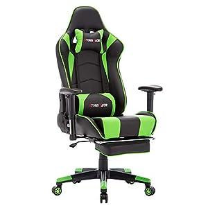 Storm Racer Gaming Stuhl PC Racing Gaming Sessel Bürostuhl Schreibtischstuhl mit Gepolsterte Fußstütze (Grun,SR)
