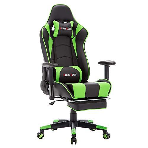 Storm racer ergonomico gaming sedia girevole per ufficio computer con schienale alto, con poggiapiedi regolazione poggiatesta e supporto lombare sedia racing (verde-s)