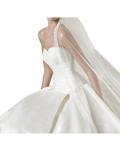 Milano Bride Vintage Traegerlos Satin Hochzeitskleider Brautkleider Brautmode mit Perlenstickerei Elegant Applikation Schleppe Elfenbein