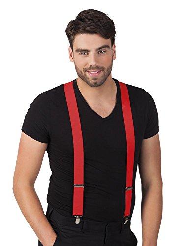 er breit elastisch längenverstellbar Y-Form Damen Herren Gangster Clown Pantomime, Farbe:Rot ()