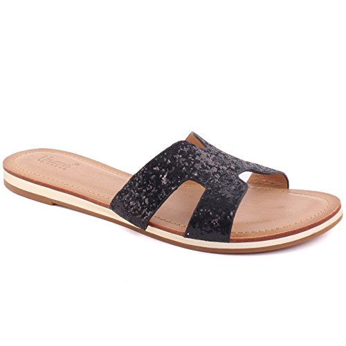 Unze New Women 'Keith' Open Toe Glittered Slider Sandales Summer Beach Party Get Together School Carnaval Casual Chaussons Pantoufles Grande-Bretagne Taille 3-8 Noir
