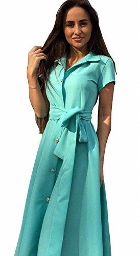Femme Casual Sexy Manche Courte Hauts Lache Shirt Robe Longue Blouse Vert
