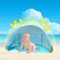 HUSAN Portable Baby Beach Tent,Lightweight Pop Up Tent,Kiddie Tent Pool,UPF 50+ Sun Shade Shelter,Aged 0-3, Fits 1-2 Children