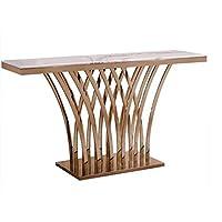 طاولة مدخل كونسول ذهبي بسطح رخام ابيض