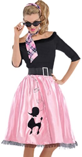 Hop 50er Kostüm Jahre - Zauberclown Damen 50er Jahre Kostüm, Sock Hop Sweetie, Karneval, Fasching, 40, Rosa