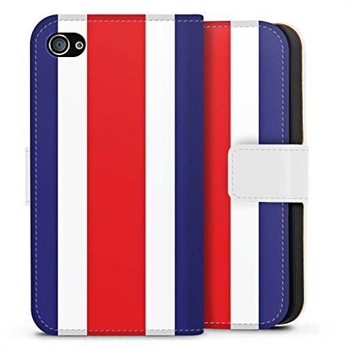 Apple iPhone X Silikon Hülle Case Schutzhülle Costa Rica Flagge Fußball Sideflip Tasche weiß