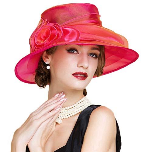 TOBEEY Fascinators Für Frauen 100% Organza Wedding Dress Fedora Sommer mit breiter Krempe Blumig Party Churh Damen Kentucky Derby ()