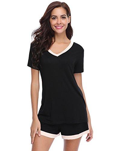 Aibrou pigiama donna corto cotone, set pigiama donna, maniche corto in cotone, pigiami da notte da 2 pezzi nero xl
