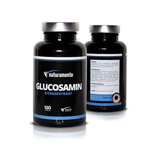 Glucosamin 120 Kapseln mit Zitrusextrakt Premium Qualität Hochdosiert - Vegane Glutenfreie Vitamintabletten - Glucosaminsulfat für jeden Tag - Hochwirksames Nahrungsergänzungsmittel