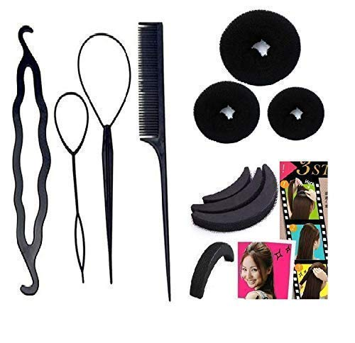 Homeoculture Hair accessories Hair Accessories, Hair Styling Tools, Bun Maker Hair Accessories, Combo Offer With Best Prices (Combo of 10 Pcs) 3 hair donuts 3 Banana Puff Maker, 4 in 1 Juda maker
