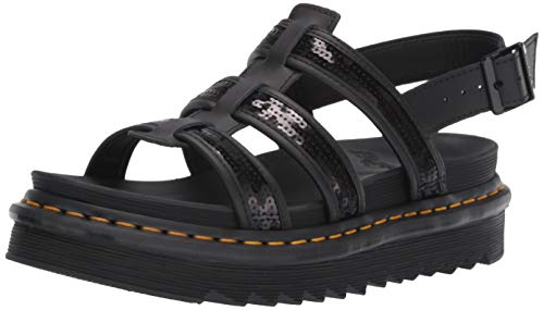 Dr. Martens Women's Yelena Sequins Hydro Leather Buckle Sandal Black Size 6 - Sequin Platform Wedge