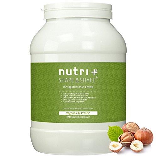 Nutri-Plus Shape & Shake Vegan Haselnuss 1kg - Veganer Proteinshake ohne Aspartam, Laktose & Milcheiweiß