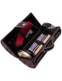CONNECTWIDE® 6 in 1 Travel Shoe Care Shine Brush Set Luxurious Shoe Polish Kit in A Carry Case - Travel Polishing Care Kit PU Leather Elegant Compact Case Perfect Gift for Father's.