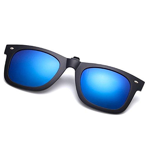 Easy Go Shopping Polarisierte Clip auf Myopie Brille Clip kurzsichtigen Tag und Nacht Fahren Vision Objektiv Anti-UVA Anti-UV Radfahren Reiten Sonnenbrille Clip (Color : Deep Blue)