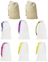 LYTIVAGEN Seifenbeutel aus Sisal, Bio Seifensäckchen, Nylon Seifennetz (BPA-frei) Seifentasche zum aufschäumen und trocknen der Seife(2 Sisal, 6 Nylon)