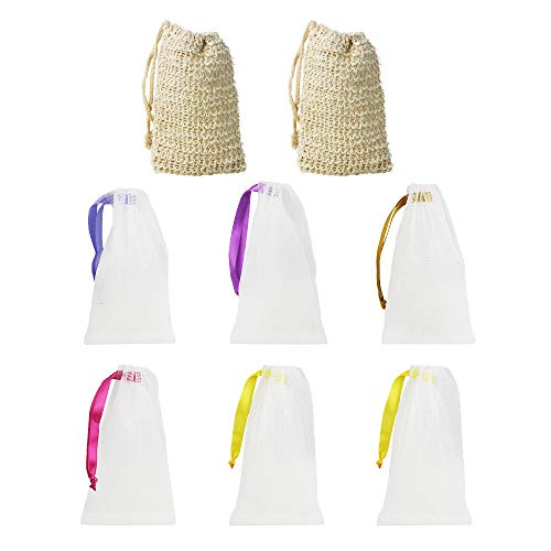 LYTIVAGEN Seifenbeutel aus Sisal, Bio Seifensäckchen, Nylon Seifennetz (BPA-frei) Seifentasche zum aufschäumen und trocknen der Seife(2 Sisal, 6 Nylon) -