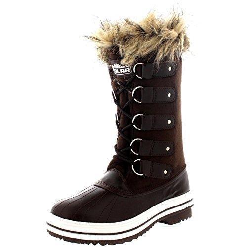 Damen Pelz Cuff Schnüren Gummisohle Tall Winter Schnee Regen Schuh Stiefel Braun Wildleder