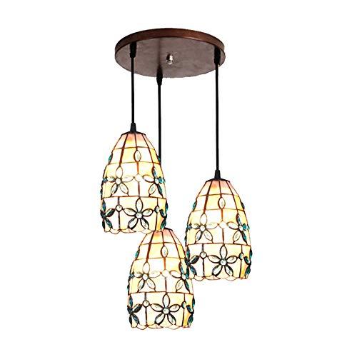 Restaurant Anhänger 3-Licht Schatten Tiffany Stil Deckenleuchte 5 Zoll Glasmalerei Rose Kronleuchter Wohnzimmer,Disc -