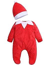 14a4a4589a7ec GEMVIE Costume de Noël 2 Pièces Combinaison + Bonnet Bébé Velours Souple Chaud  Barboteuse de Noël