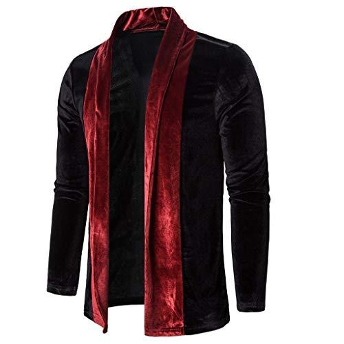 WuWangHai Herren Strickjacke Open Jacke Lang Cardigan Knit Mantel Strick Jacke Hoody Hoodie Sweatshirt Sweatblazer