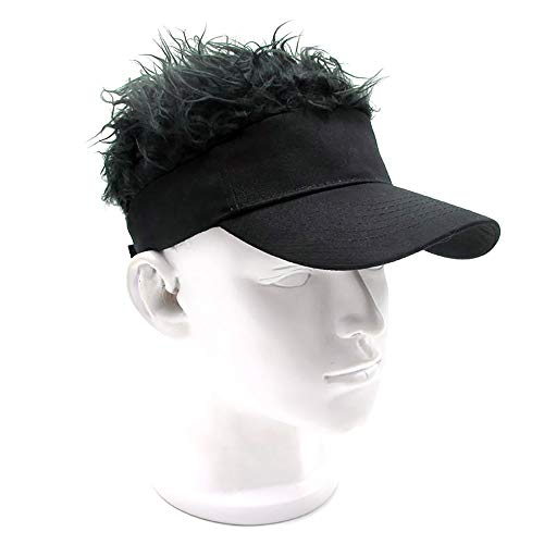 YANGMAN Perücke Baseballmütze, Unisex-Neuheit Verstellbarer Visier-Hut mit Kunsthaar, für Karneval Cosplay Geburtstagsfeier - Kopfumfang 57~60cm - schwarzer Hut,blackwig