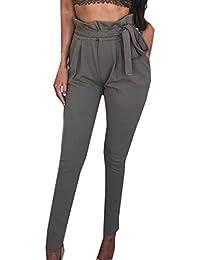 Damen Elegant High Waist Chiffon Stretch Pants Skinny Hosen Casual Streetwear einfarbig Lange Hose mit Tunnelzug