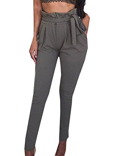 Damen Elegant High Waist Chiffon Stretch Pants Skinny Hosen Casual Streetwear einfarbig Lange Hose mit Tunnelzug, Grau, Gr. 40
