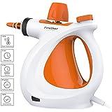 Finether-Limpiadora Eléctrica a Vapor Munual Máquina de limpieza con 9 Accesorios (Multifuncioal, con Mango Ajustable, Ideal para Cocina, Baño, Oficinas y más), Naranja y Blanco