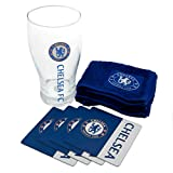 Chelsea F.C. Mini Bar Set Mini Bar Set 1 x Pint-Glas 4 x Bierdeckel 1 x Bier Handtuch in eine Blase
