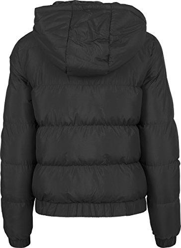 Urban Classics Damen Winterjacke Ladies Hooded Puffer Jacket, gefütterte Jacke für Herbst und Winter mit abnehmbarer Kapuze, Daunenjacke Schwarz (Black 7)