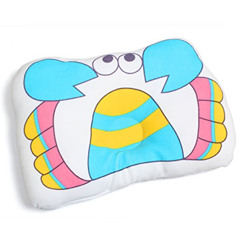 Baby Bucket Soft Cotton baby newborn Infant Toddler Sleeping Support Pillow Prevents Flat Head Newborn Baby Boy & Girl Antiroll Pillow Sleeping (blue Crab)