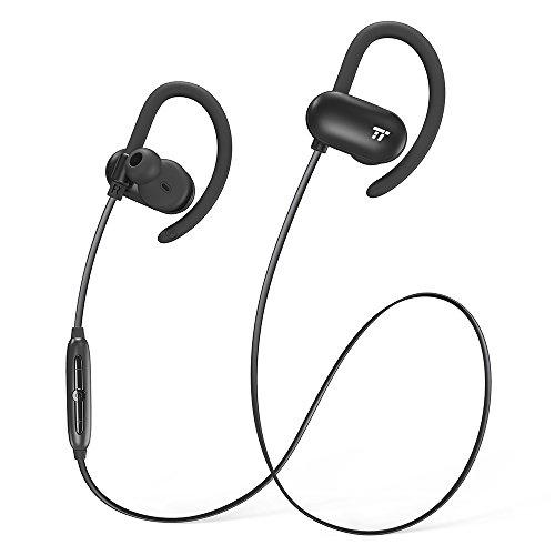 Bluetooth Kopfhörer 4.1 12 Std Musikwiedergabe TaoTronics In Ear Kabellose Kopfhörer fürs Laufen, Weiche Silikon-Ohrhaken, Schweißgeschützte Nano-Beschichtung innen