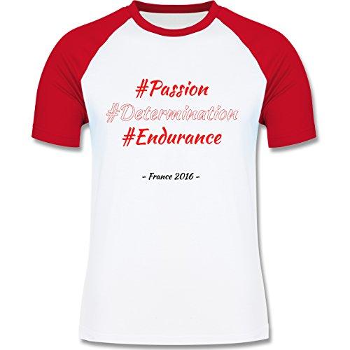 Fußball EM 2016 - EM 2016 Österreich - L140 - Raglan Männer Herren T-Shirt mit Kontrastärmeln und Rundhalsausschnitt Weiß/Rot