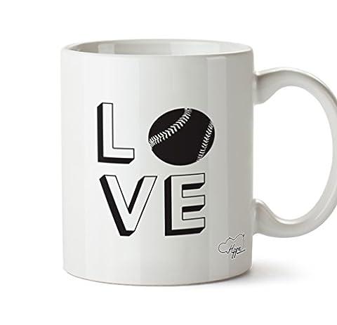hippowarehouse Love Baseball 283,5Tasse, keramik, weiß, One Size (10oz)