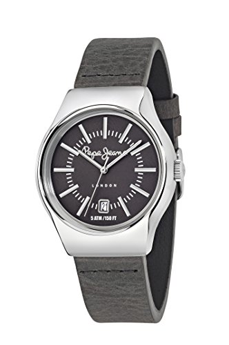 Pepe Jeans Joey Men's Quartz Watch with Grey Dial Analogue Display and Grey Leather Strap R2351113001