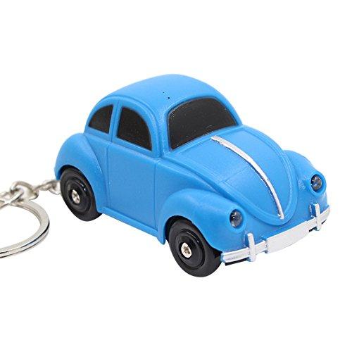 (MAJGLGE Mini-Autoanhänger mit LED-Licht und Schlüsselanhänger, Blau)