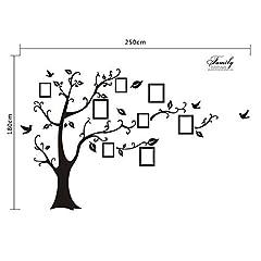 Idea Regalo - WallStickersDecal® - Adesivo da parete in PVC, rimovibile, a forma di albero con rami incurvati e cornici porta foto