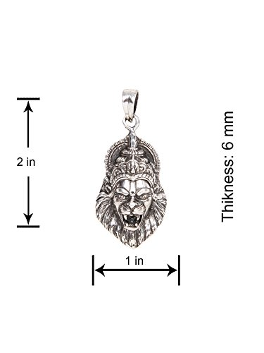 Silverwala 925-92.5 Sterling Silver Laxmi Narasimha Swamy oxidised Pendant for Men Boys Girls and Women