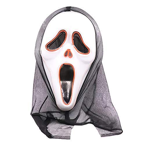 Blutig Verschwinden Kostüm Für Mann Erwachsenen - NOEzyf Halloween LED Ghost Mask, Screaming Horror Series (weiß),A