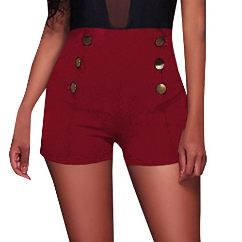 Short-Hose Damen Skinny Shorts mit Knöpfe Mode High Waist Kurz Hosen