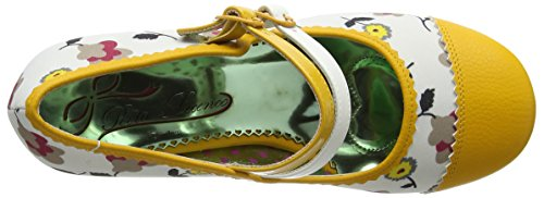 Poetic Licence by Irregular Choice Mini Mod, Escarpins femme Multicolour (White/Yellow)