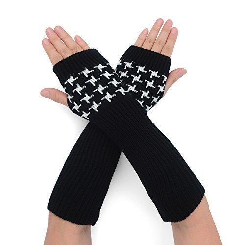 Flammi Women's Rib Knit Arm Warmers Houndstooth Fingerless Gloves Thumb Hole Gloves Mittens (Black)