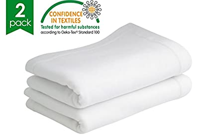 Bloomsbury Mill - Twin Pack - 100% Pure Cotton - Soft Jersey Flat Sheets - Pram/Crib - White - 75 cm x 100 cm