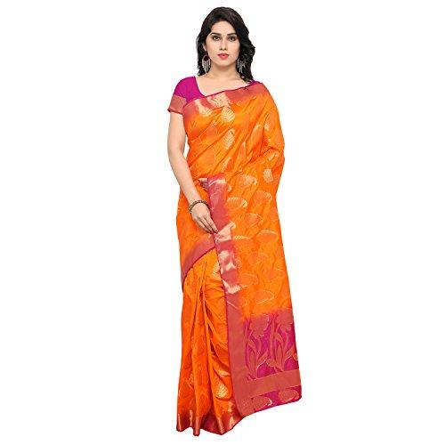 Varkala Silk Sarees Women's Art Silk Banarasi Saree With Blouse Piece(ND1003OR_Orange_Free Size)