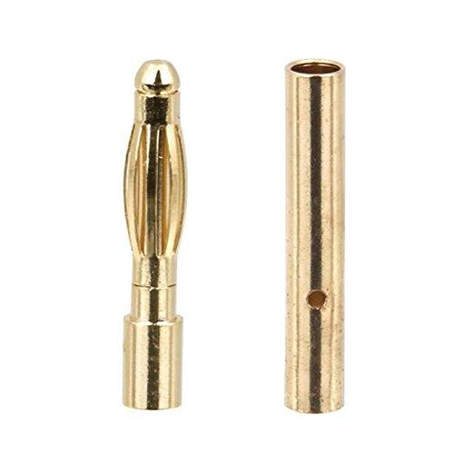 WINOMO 20 paia di 2.0mm oro placcato pallottola maschio femmina Banana connettori spine per RC ESC