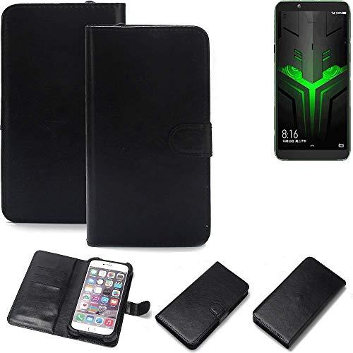 K-S-Trade Wallet Case Handyhülle für Xiaomi Blackshark Helo Schutz Hülle Smartphone Flip Cover Flipstyle Tasche Schutzhülle Flipcover Slim Bumper schwarz, 1x