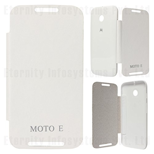 DMG Flip Book Diary Cover Hard Back Case for Motorola Moto E XT1022 (White)  available at amazon for Rs.199