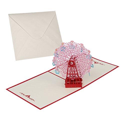 SUPVOX 3D Karte Pop Up Karte Grußkarten Riesenrad Einladungen Karte mit Umschlag für Hochzeit Geburtstag 15 x 15 cm (rot)